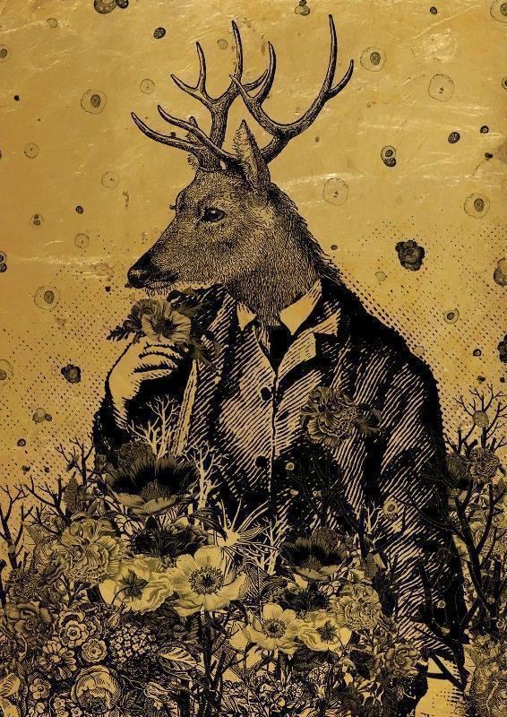 黃至正  麋鹿先生  21X29cm  紙本、墨水、箔 (金箔)   2015