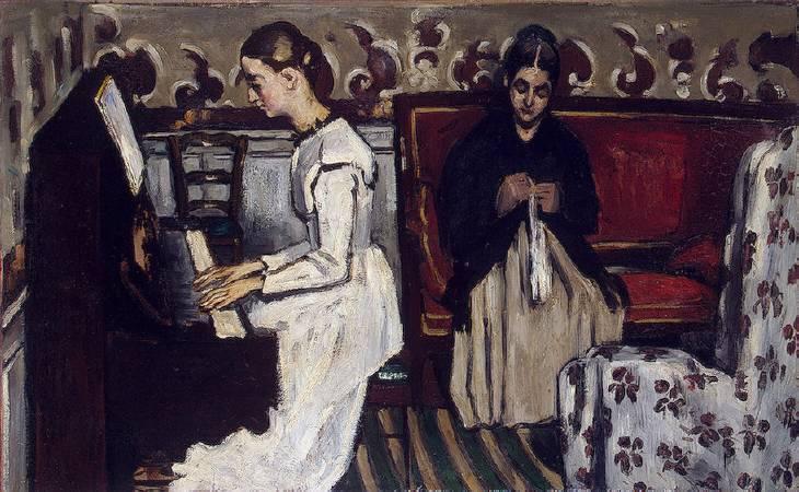 塞尚《唐懷瑟序曲:藝術家的母親與姊妹》。圖/取自Wikipedia。