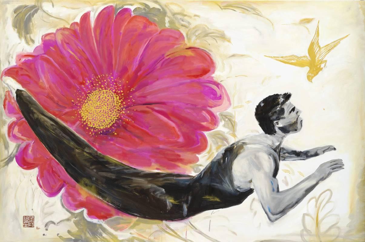 顧福生《花瓣與花》,2013,油彩/畫布,122 x 183 cm