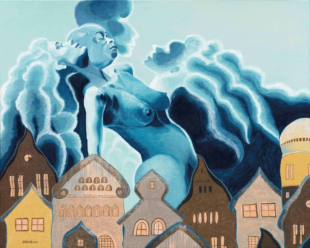 蕭耀 York Hsiao | 藍色狂想曲 Rhapsody in Blue | 綜合媒材 Mixed Media on Canvas | 130x194cm | 2015