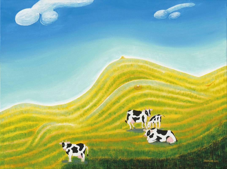 蕭耀 York Hsiao | 芳草碧連天 Green Lawn | 97x130cm | 複合媒材 Mixed Media on Canvas | 2015