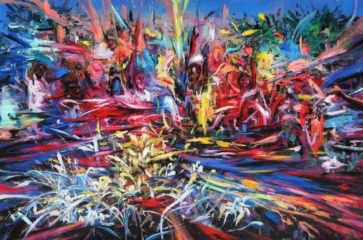 荒野中的狂歡-1號,油彩畫布,80x150cm,2015