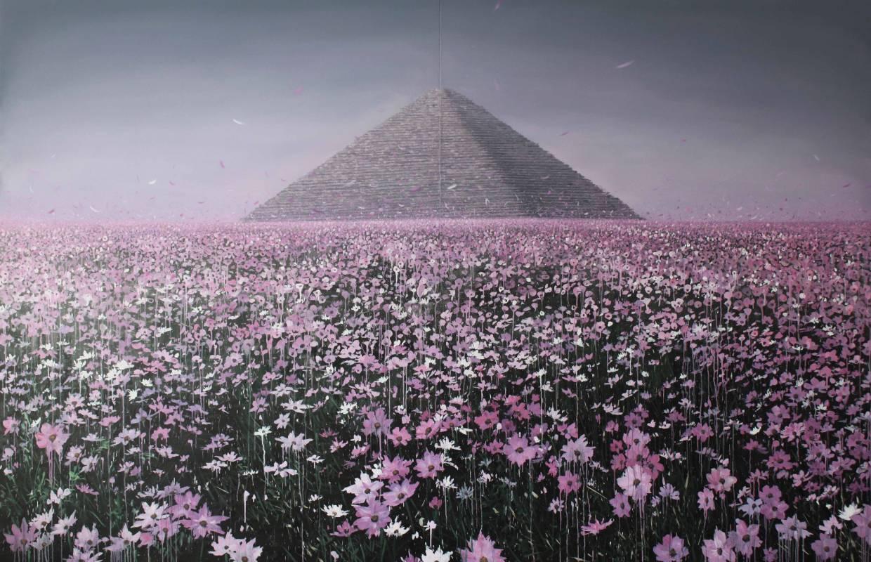 在那鮮花盛開的地方-3號,油彩畫布,200x300cm(雙拼),2012