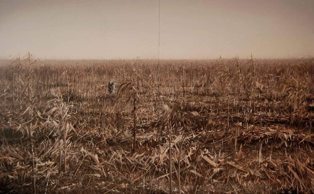 墮落天使-宇航員-10號,油彩畫布,200x320cm(雙拼),2009