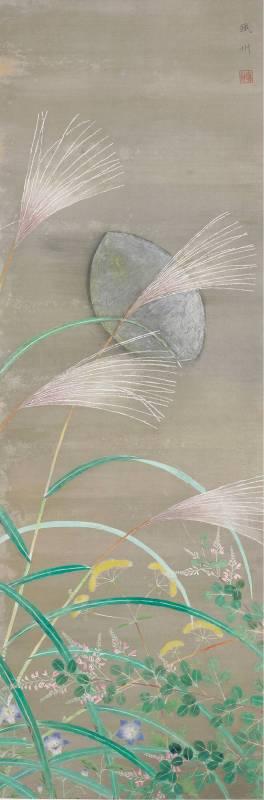 呂鐵州〈夕月〉1931  礦物彩、絹  141.2×48.2 cm  國美館典藏