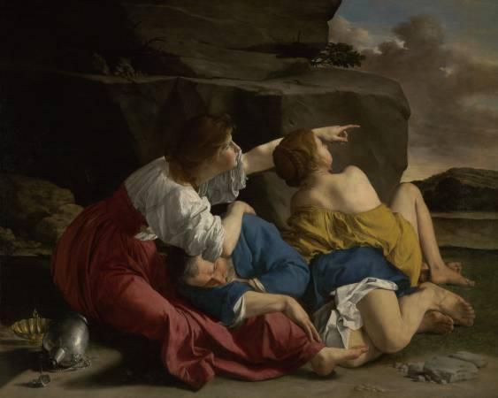 歐拉齊奧‧簡提列斯基《羅德和他的女兒們》。圖/取自J. Paul Getty Museum。