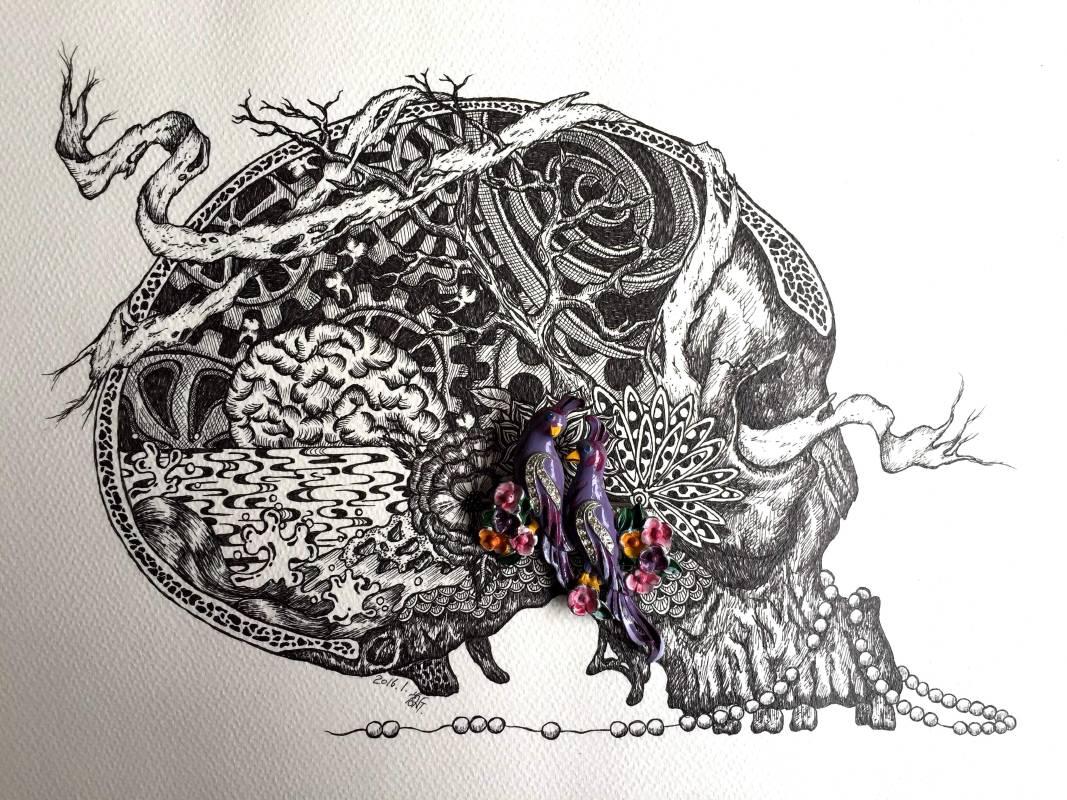 何思芃 ,《生命是一襲華美的袍,爬滿了蝨子》, 代針筆、古董珠寶、紙, 2015