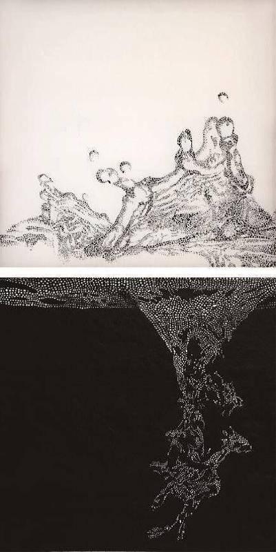 李佳恂,《瞬間》,墨、壓克力彩、膠、絹,長30×寬30 cm×2,2014