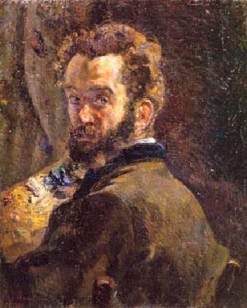 基約曼《有畫架的自畫像》(Self Portrait with Easel),1878。圖/取自Wikipedia。