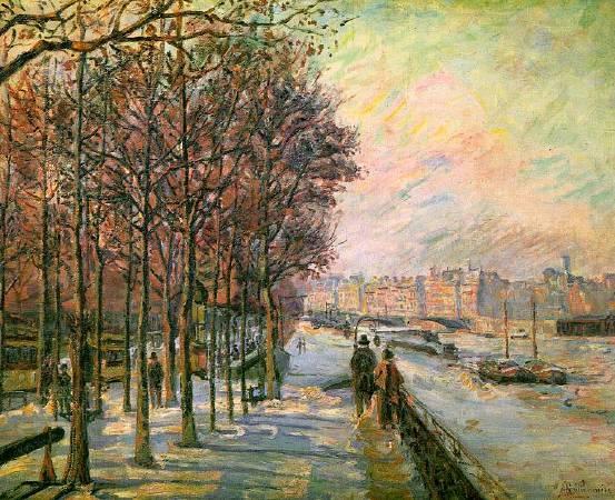 基約曼《巴黎瓦呂貝廣場》(La Place Valhubert, Paris),1875。圖/取自Wikipedia。