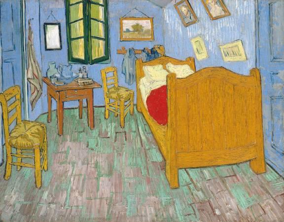梵谷《在亞爾的臥室》,第二版本。圖/取自Wikipedia。