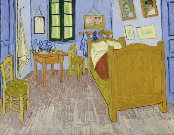 梵谷《在亞爾的臥室》,第三版本。圖/取自Wikipedia。