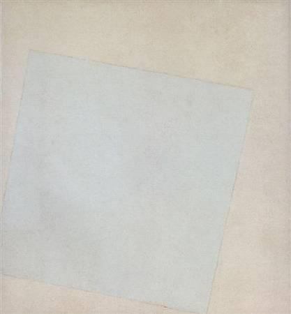 馬列維奇《白色的白色》(White on White),1918。圖/取自Wiki Art。