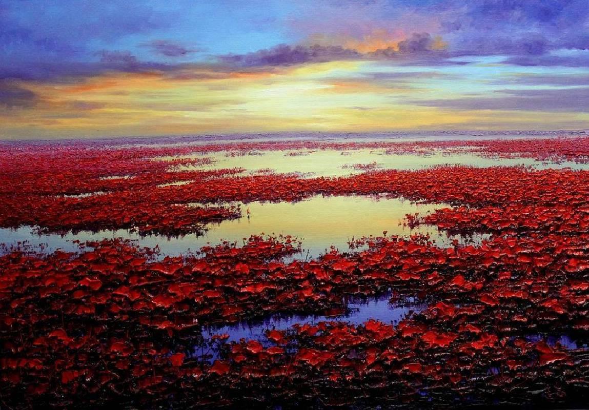 裴連志《日昇》油畫 100×70cm 2015