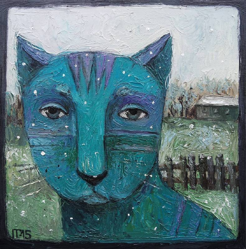 Galya Popova《First Snow》Oil on Canvas 30×30 2015
