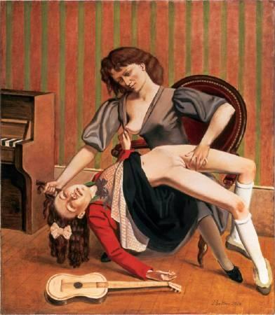 Balthus,《Guitar lesson》,1934。圖/取自Wikiart。