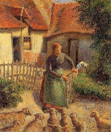 畢沙羅《牧羊女圈羊》。圖/取自Wikipedia。