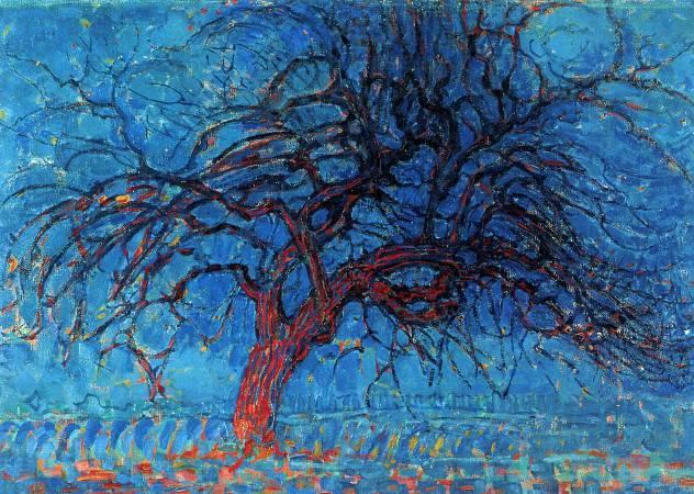 蒙德里安,《紅色的樹》,1910年。圖/取自Wikipedia。