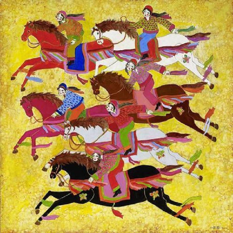 吳昊,春郊競技,128x128cm,2011,油畫。