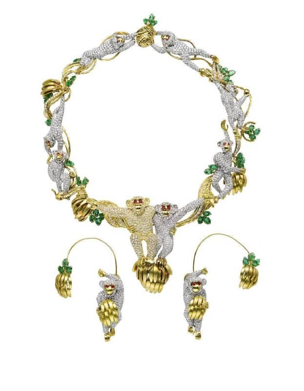 Massoni  鑽石,祖母綠,紅寶石靈猴獻瑞項鏈套裝
