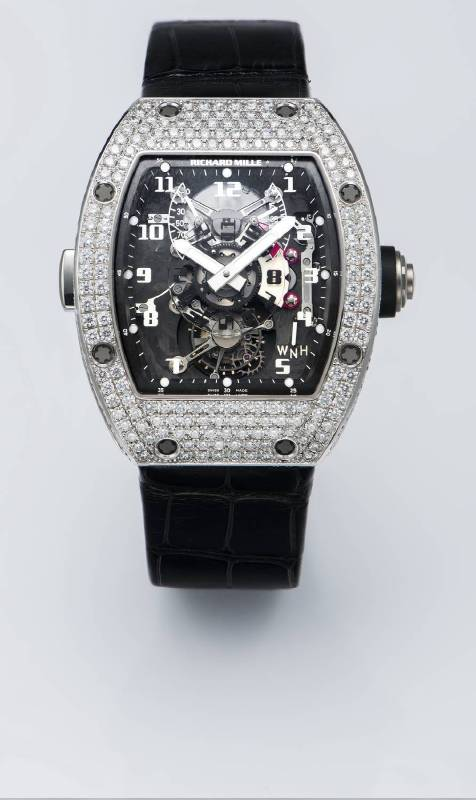 RICHARD MILLE 白金鑲鑽酒桶型 陀飛輪腕手動上鏈錶