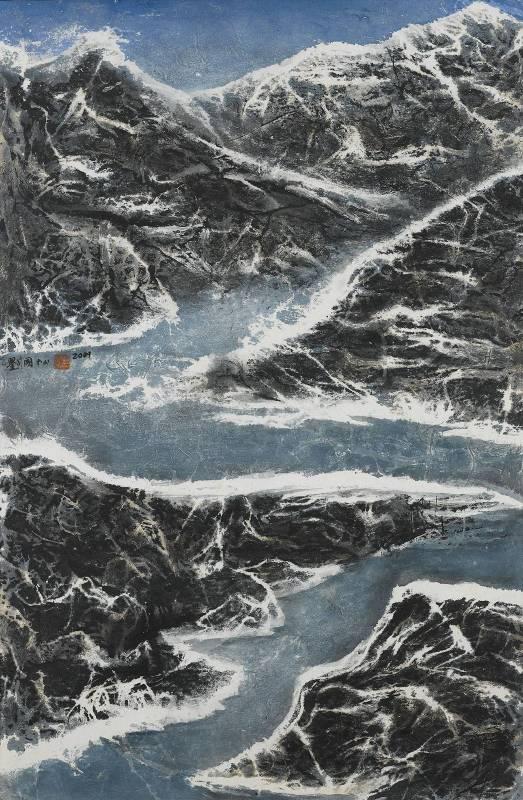 劉國松,《山不轉水轉》,2009。