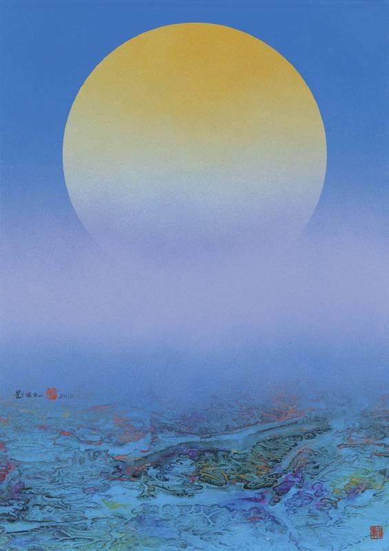 劉國松,《月之蛻變142》,2012。