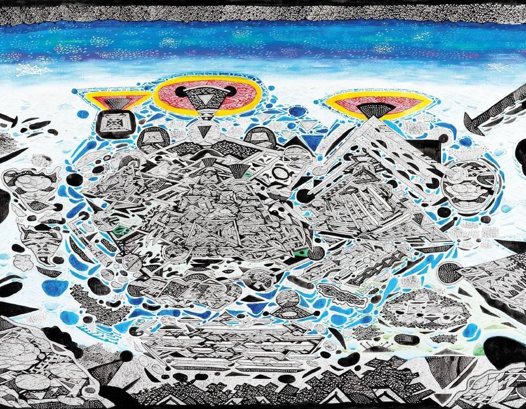 林書楷,《50F 陽台城市文明系列-夢境中的文明空拍圖》。