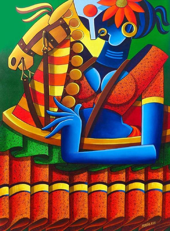 Kurma Venkata Siva Prasad《Butta Bomma》Acrylic on Canvas 90×130cm 2015 印度