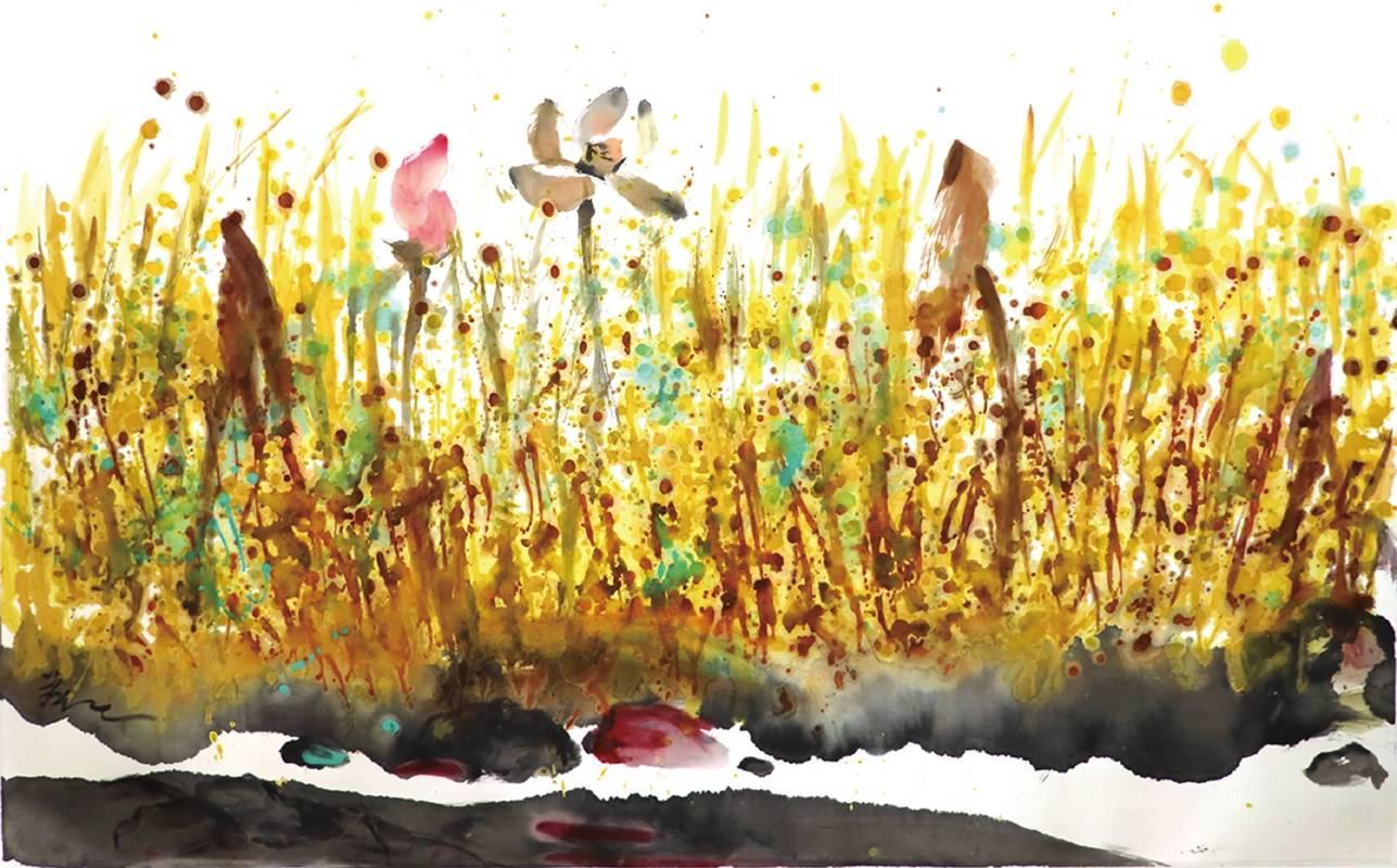 塵三 Chen San,荷岸 Riverbank Lotus,絹本設色 Colored ink on silk,76x121cm,2015