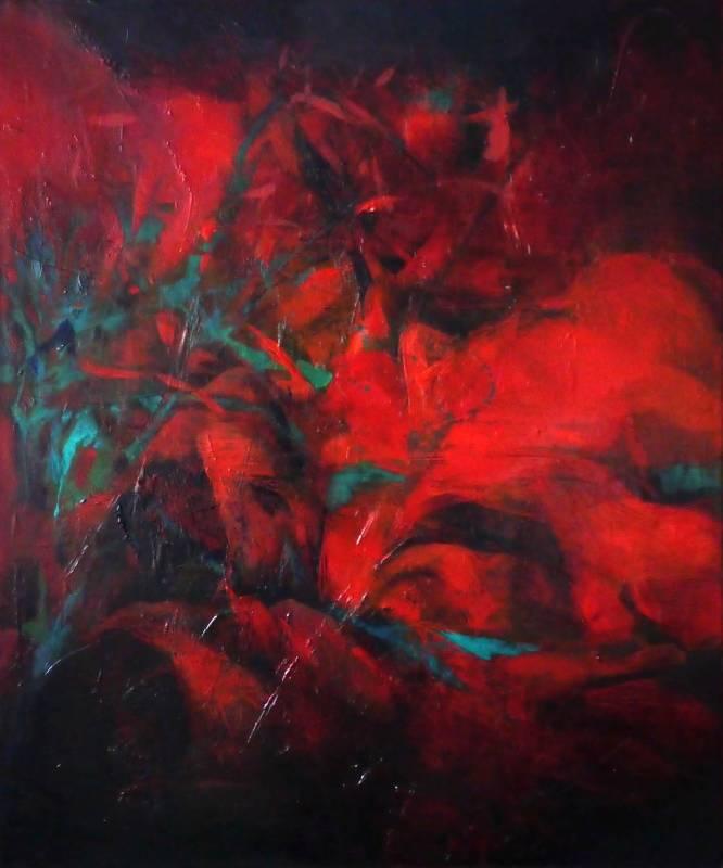 周宸 Chou Chen, 紅花藏 Red Flowers Hiding,油畫 Oil on canvas,60.5x72.5 cm,2016