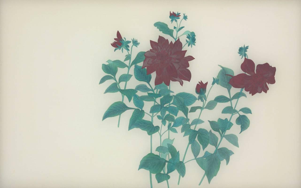 詹琇鈐 花樹盛開 之一 50x80cm 膠彩絹本 2015