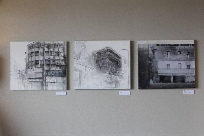 蘇誼亭「城市消融」系列作品。圖/非池中藝術網攝。