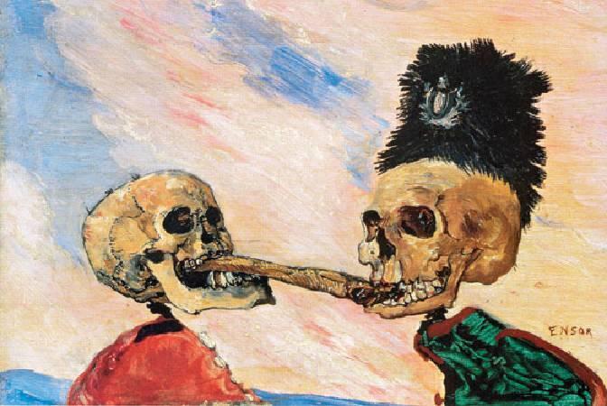 恩索爾,《 Skeletons Fighting Over a Pickled Herring》,1891。圖/取自Wikiart。