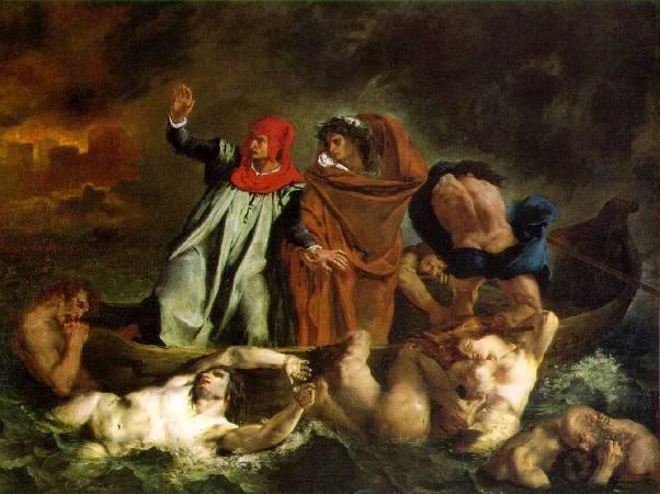 德拉克拉瓦,《但丁和維吉爾共渡冥河》,1822。圖/取自Wikipedia。
