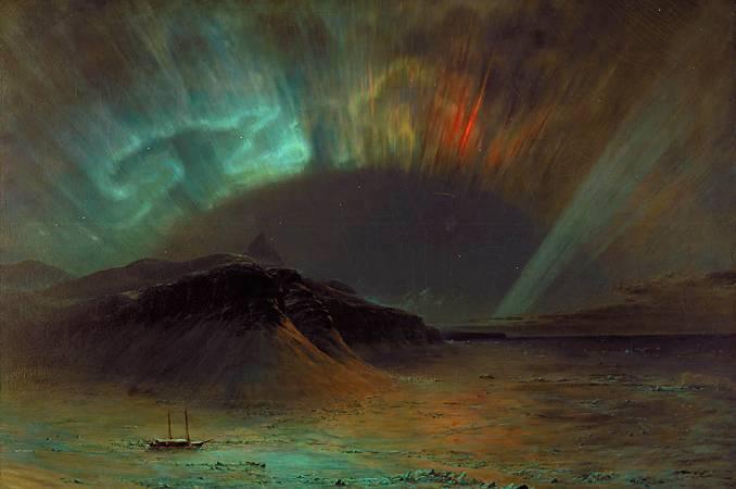 丘奇,《Aurora Borealis》,1865。圖/取自Wikipedia。
