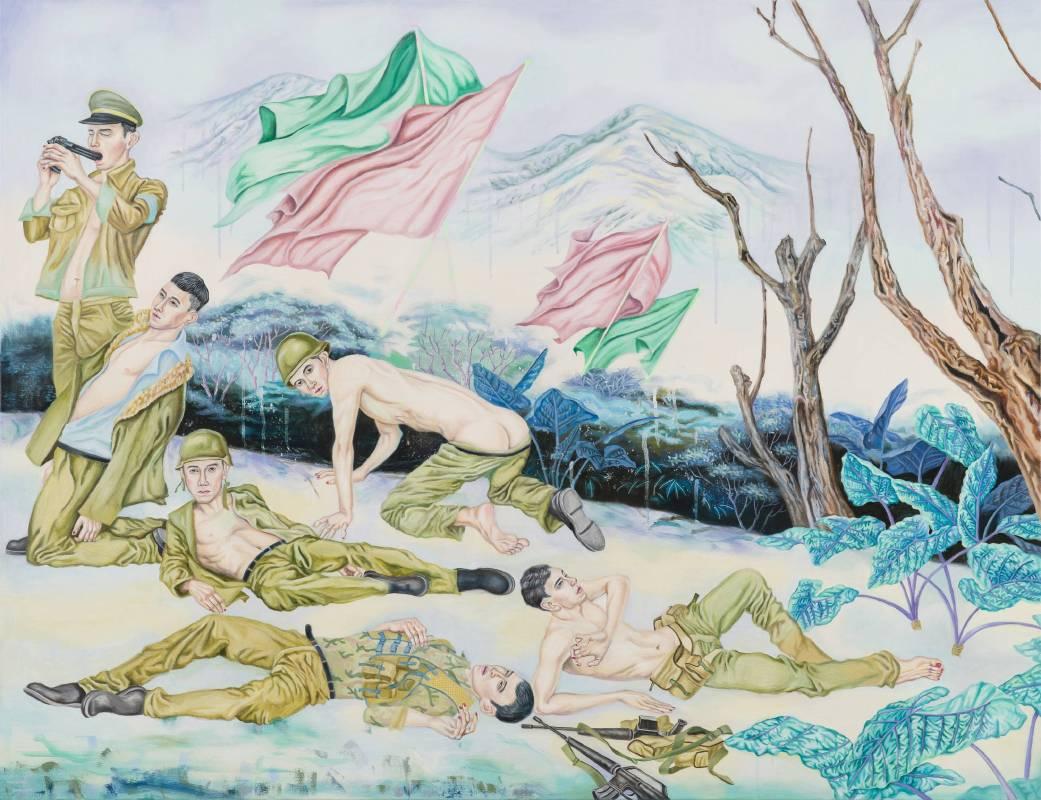 男孩的榮譽-衣裝與矜持,145.5×112 cm(右),油彩、畫布,2016