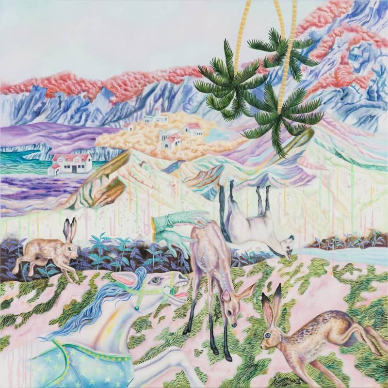看得見彩虹的山坡,100×100 cm,油彩、畫布,2016