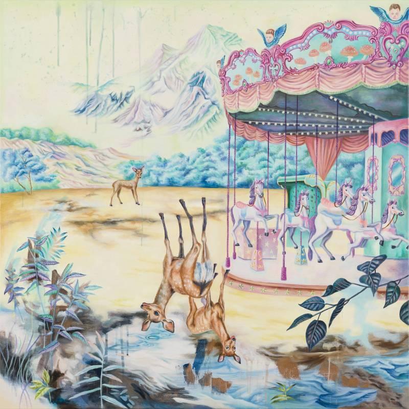 處女樂園 Virginland,100×100 cm,油彩、畫布,2016