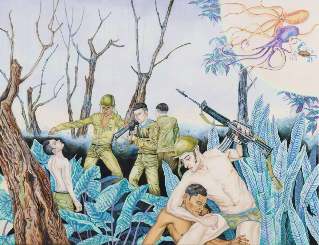 男孩的榮譽-衣裝與矜持,145.5×112 cm(左),油彩、畫布