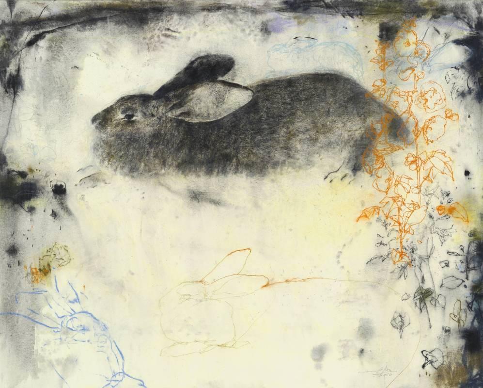 梁兆熙 LIANG Zhaoxi 兔Rabbits 2016 壓克力、木炭、紙本 96x120cm