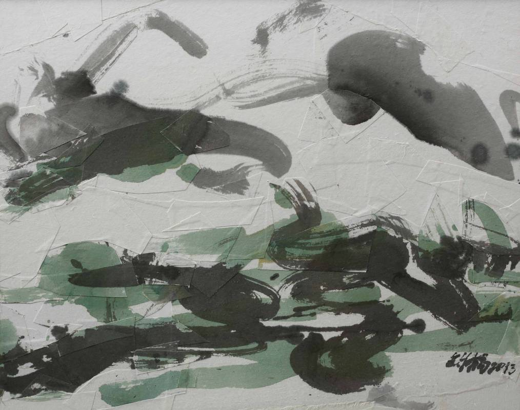 楊世芝 Yang Shih-Chih 細讀綠山水 To Penertrate a Green Landscape 2013 墨丶礦物顏料、棉紙拼貼於紙板 39x49cm