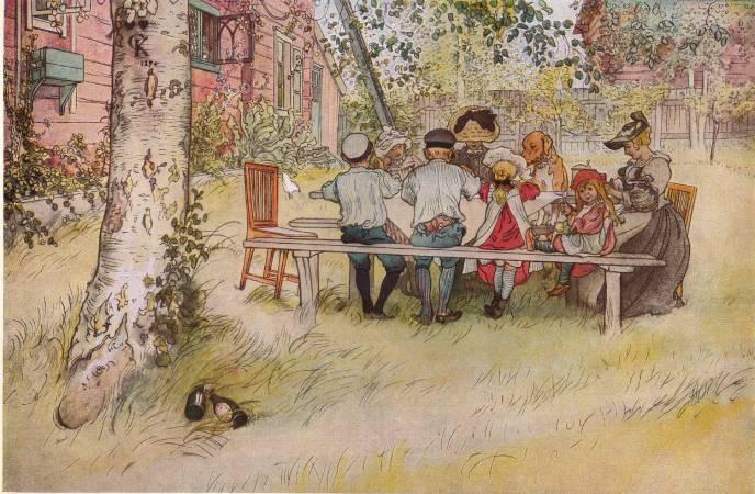拉森,《銀樺樹下的早餐》,1896。