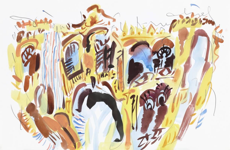 塔石竹棚,2015,38x58.5cm,水彩、鉛筆、紙