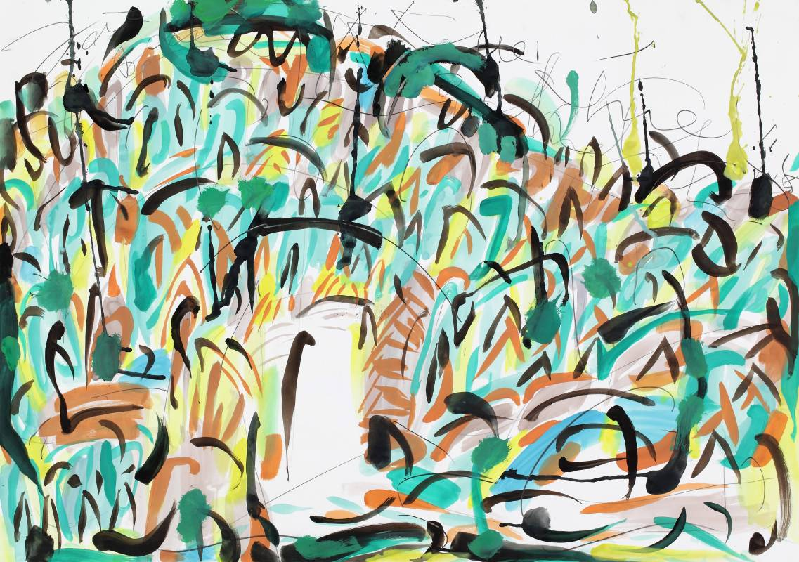 漁人碼頭,2015,70x100cm,水彩、鉛筆、紙