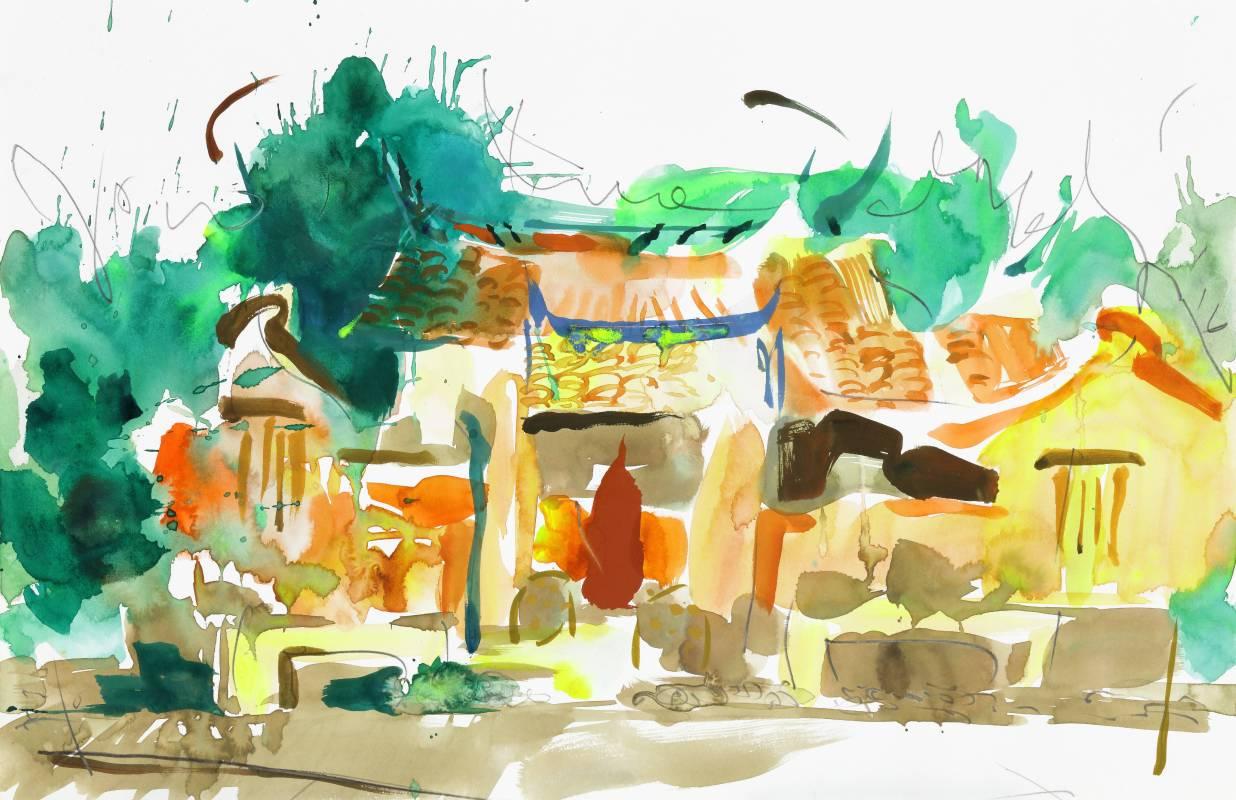新瓦屋忠孝堂,2016,38x58.5cm,水彩、鉛筆、紙