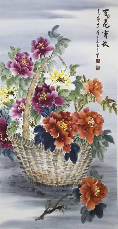 包容-國畫-百花齊放-68x137cm