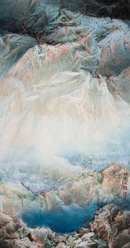 林象元-國畫-湖山春曉-68x137cm