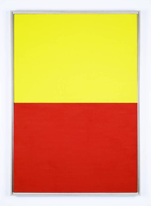 Yellow_Red,acrylic, pigment on canvas,82x56cm, 1962,Tadaaki  Kuwayama