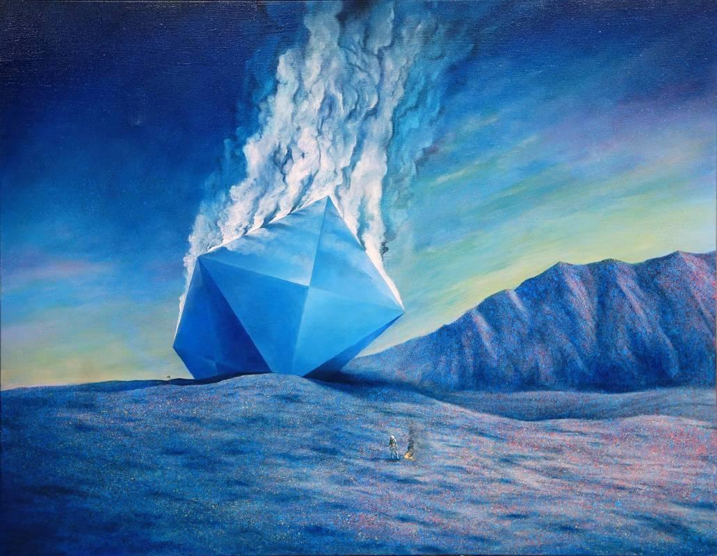賴岳宏《煙硝日常20-黑盒子》91x116.5cm, 布面油彩、壓克力, 2016